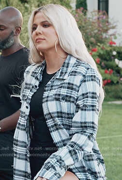 Khloe's distressed plaid shirt on Keeping Up with the Kardashians