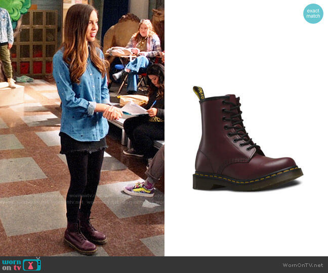 Doc Martens Cherry Rouge Boots worn by Nini (Olivia Rodrigo) on High School Musical The Musical The Series