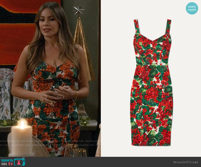 Dolce & Gabbana Floral-print stretch-cady dress worn by  Gloria Pritchett (Sofia Vergara) on Modern Family