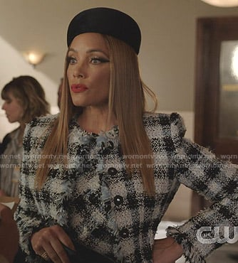 Dominique's tweed jacket on Dynasty