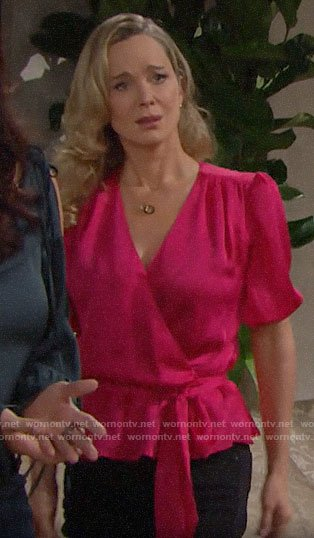 Donna's pink wrap top on The Bold and the Beautiful