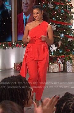 Susan Kelechi Watson's red drape one shoulder jumpsuit on The Talk