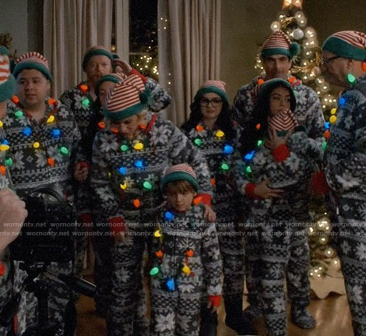 The Dunphy Family's Christmas onesies on Modern Family