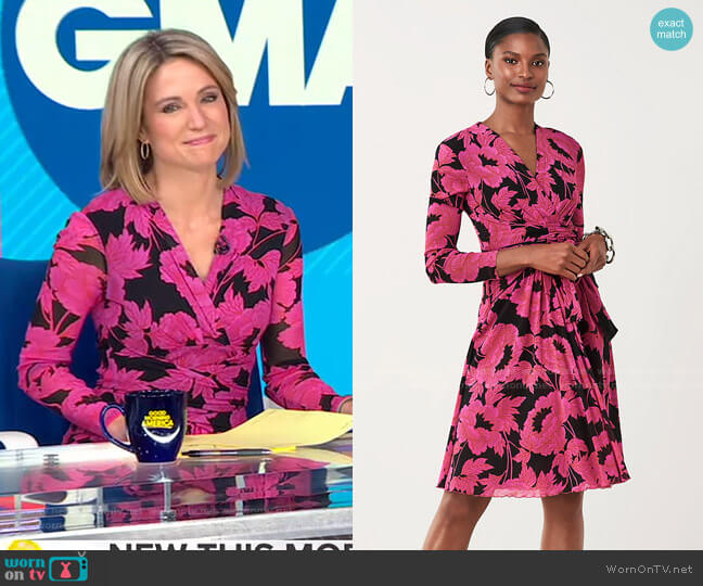 Brenda Mesh Faux-Wrap Dress by Diane von Furstenberg worn by Amy Robach  on Good Morning America