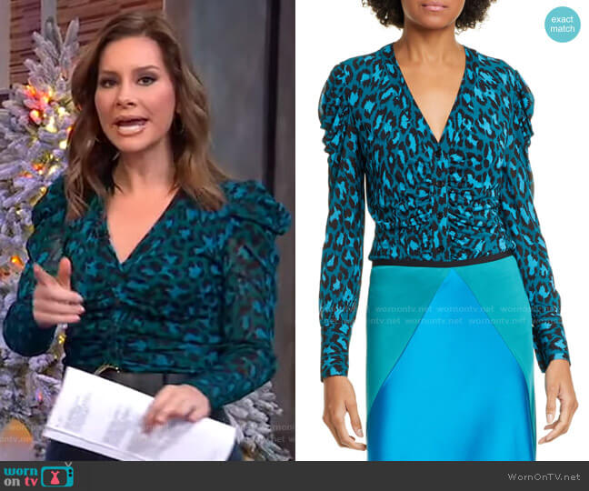 Gladys Ruched Sleeve Leopard Print Blouse by Diane von Furstenberg worn by Rebecca Jarvis  on Good Morning America