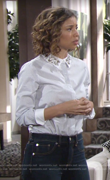Elena's striped shirt with embellished collar on The Young and the Restless