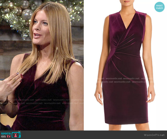 Elie Tahari Dolly Sleeveless Ruched Velvet Dress worn by Phyllis Summers (Michelle Stafford) on The Young & the Restless
