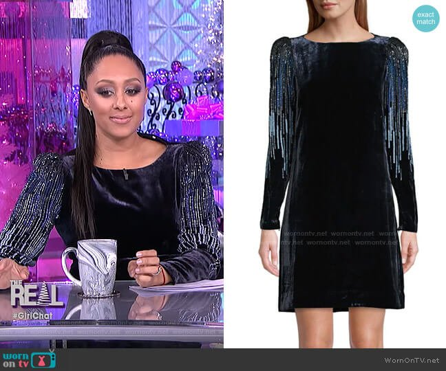 Velvet Sequin Sheath Dress by Elie Tahari worn by Tamera Mowry  on The Real
