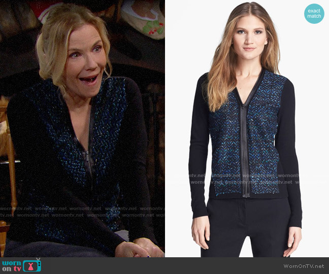 Elie Tahari Aurora Sweater worn by Brooke Logan (Katherine Kelly Lang) on The Bold & the Beautiful