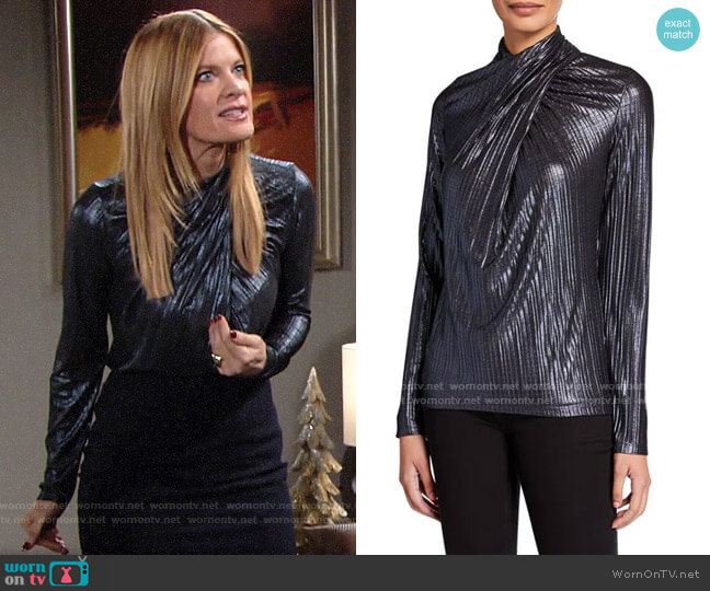 Elie Tahari Keilani Metallic Wrap Top worn by Phyllis Summers (Michelle Stafford) on The Young & the Restless
