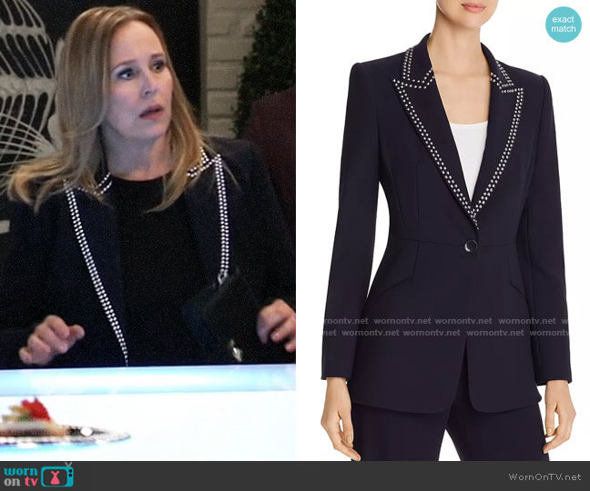 Elie Tahari Madison Studded Blazer worn by Laura Collins (Genie Francis) on General Hospital