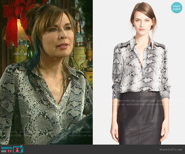 Elizabeth & James Kane Python Blouse worn by Kate Roberts (Lauren Koslow) on Days of our Lives