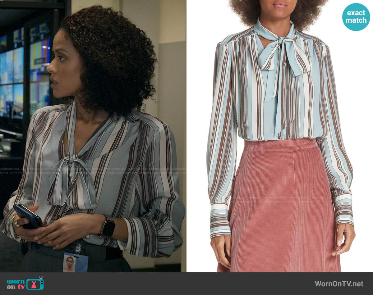 Elizabeth and James Mimi Blouse worn by Hannah Shoenfeld (Gugu Mbatha-Raw) on The Morning Show