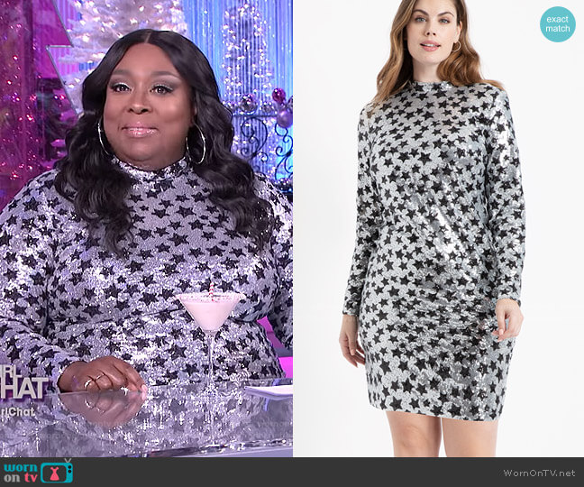Mock Neck Sequin Dress by Eloquii worn by Loni Love  on The Real