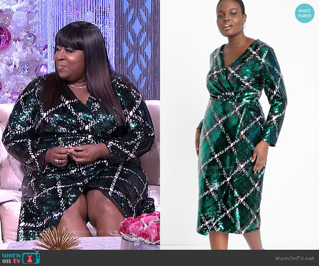 Plaid Sequin Wrap Dress by Eloquii worn by Loni Love  on The Real