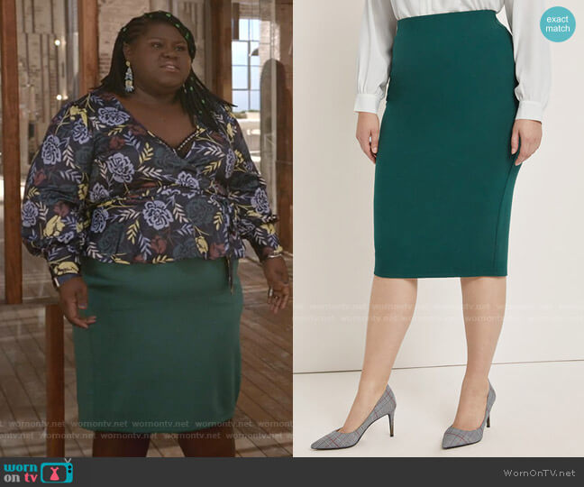 Ponte Knit Skirt by Eloquii worn by Becky (Gabourey Sidibe) on Empire