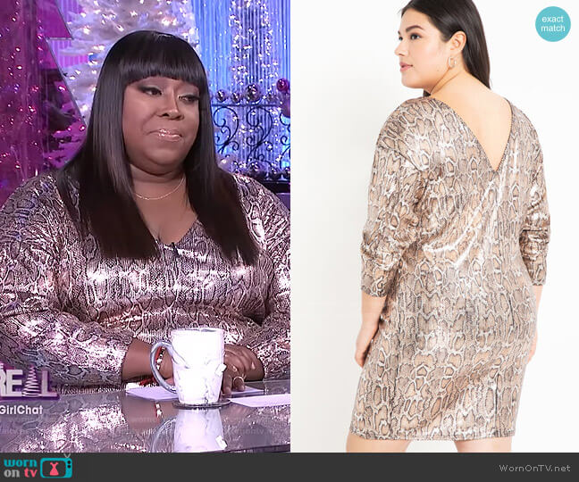 Sequin Easy Dress with V Back by Eloquii worn by Loni Love  on The Real