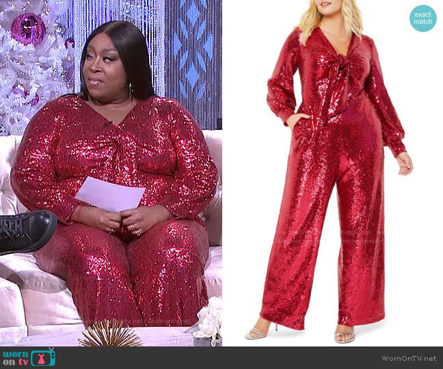 Sequin Tie Front Long Sleeve Jumpsuit by Eloquii worn by Loni Love  on The Real