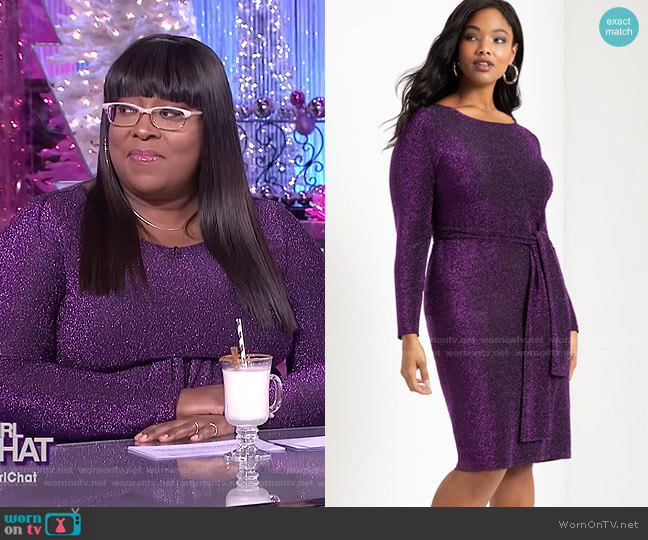 Lurex Tie Waist Dress by Eloquii worn by Loni Love  on The Real