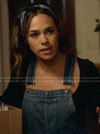 Emily's denim overalls on All Rise