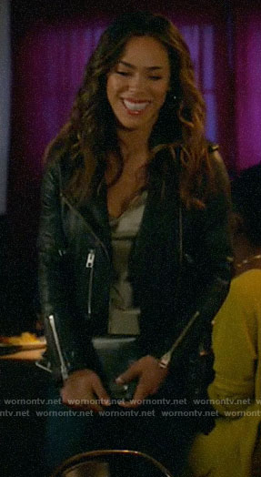 Emily's leather moto jacket on All Rise