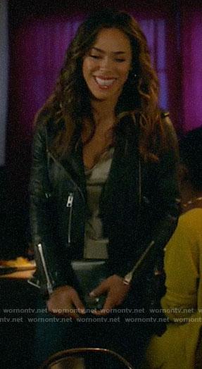 Emily's leather moto jacket on All Rise