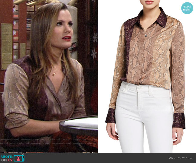 Equipment Yvonet Python-Print Blouse worn by Chelsea Lawson (Melissa Claire Egan) on The Young & the Restless