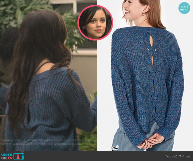 Cable Knit Split Back Pullover Sweater by Express worn by Ellie (Jenna Ortega) on You