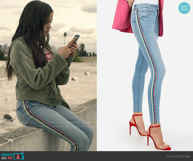 Express High Waisted Denim Perfect Side Stripe Ankle Leggings worn by Ellie (Jenna Ortega) on You