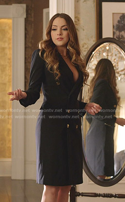 Fallon's navy double breasted blazer dress on Dynasty