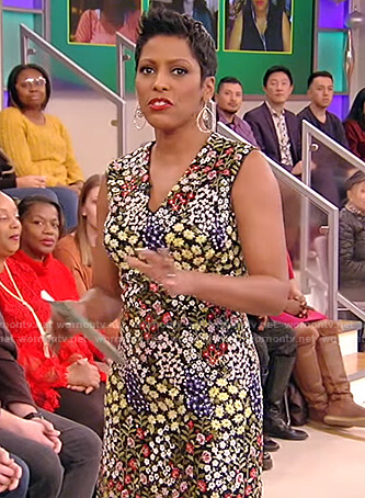 Tamron's floral embellished sleeveless dress on Tamron Hall Show