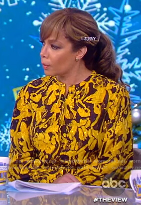 Sunny's yellow floral jacquard blouse on The View