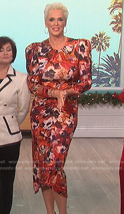 Brigitte Nielsen's floral ruched dress on The Talk