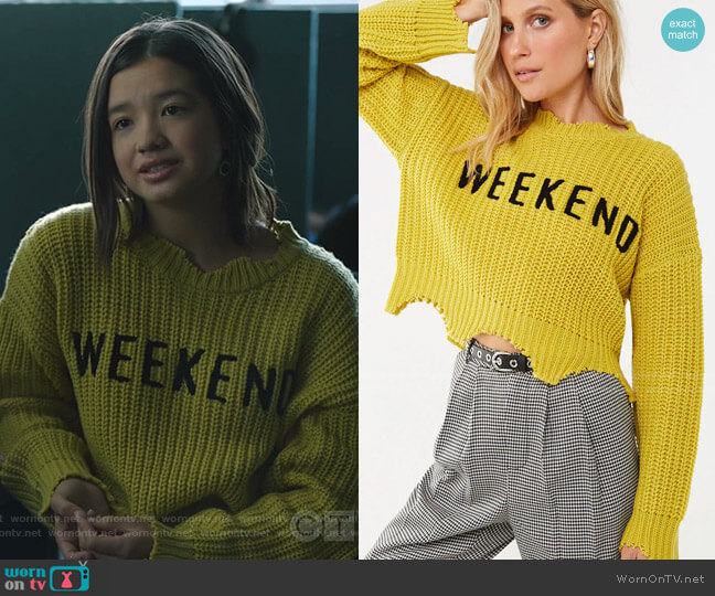 Distressed Weekend Graphic Sweater by Forever 21 worn by Peyton Elizabeth Lee on Stumptown