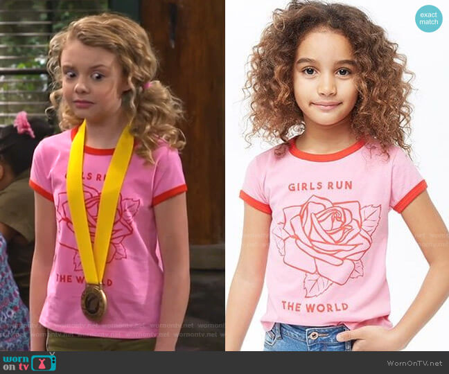 Girls Run The World Graphic Ringer Tee by Forever 21 worn by Destiny Baker (Mallory James Mahoney) on Bunkd