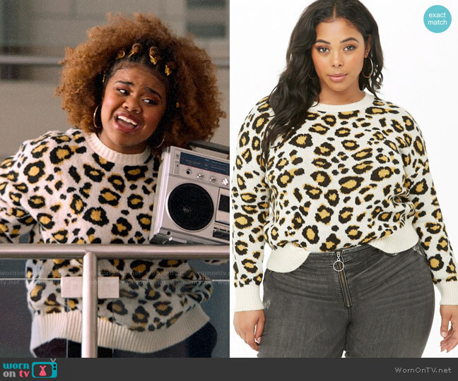Forever 21 Leopard Print Sweater worn by Kourtney (Dara Renee) on High School Musical The Musical The Series