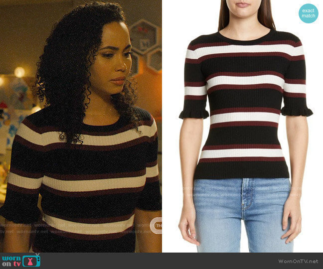 Frame 70s Ruffle Cuff Wool Blend Sweater worn by Macy Vaughn (Madeleine Mantock) on Charmed
