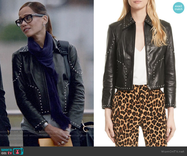 Frame Studded Leather Jacket worn by Amanda Doherty (Victoria Cartagena) on Almost Family
