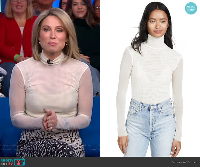 Double Layer Mesh Turtleneck Top by Free People worn by Amy Robach  on Good Morning America