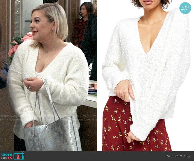 Free People Finders Keepers V-Neck Sweater worn by Lulu Spencer Falconeri (Emme Rylan) on General Hospital