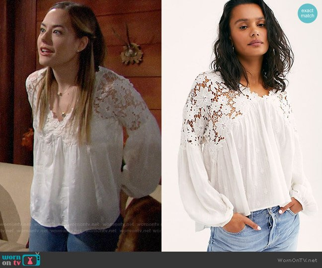 Free People Lina Lace Top worn by Hope Logan (Annika Noelle) on The Bold & the Beautiful