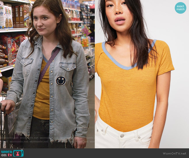 We The Free Frenchie Ringer Tee by Free People worn by Debbie Gallagher (Emma Kenney) on Shameless