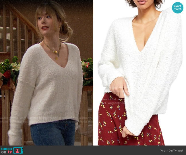Free People Finders Keepers Sweater worn by Hope Logan (Annika Noelle) on The Bold & the Beautiful