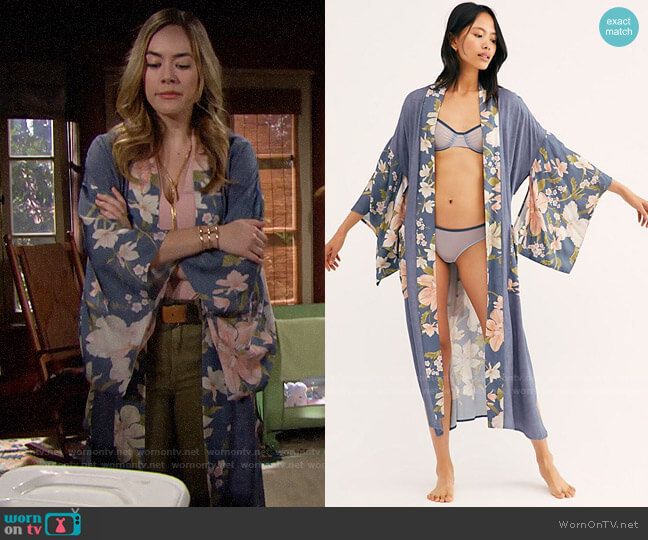 Free People Waterfall Maxi Duster worn by Hope Logan (Annika Noelle) on The Bold & the Beautiful