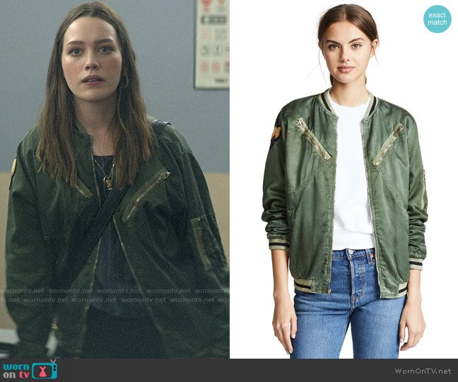 FREECITY Satin Jump Jacket worn by Love Quinn (Victoria Pedretti) on You