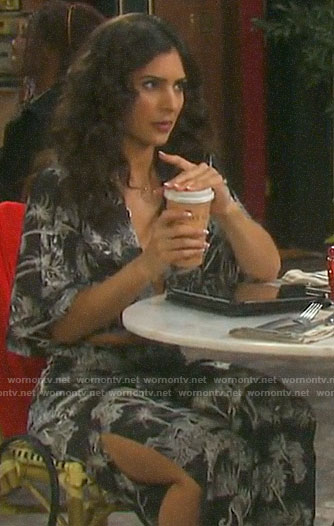 Gabi's black and white printed crop top and pants on Days of our Lives