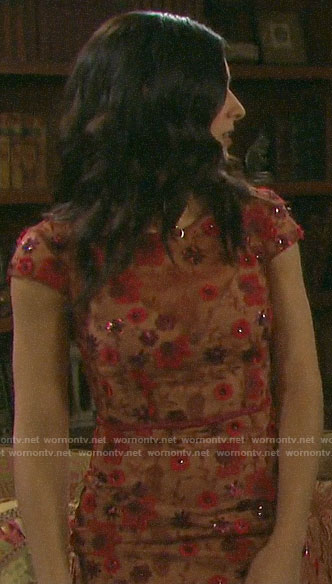Gabi's floral embellished dress on Days of our Lives