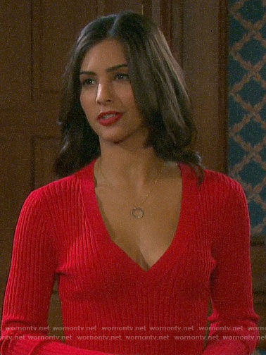 Gabi's red v-neck sweater dress on Days of our Lives