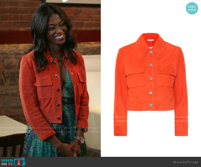 Ganni Salvia Suede Jacket worn by Ali Finer (Javicia Leslie) on God Friended Me