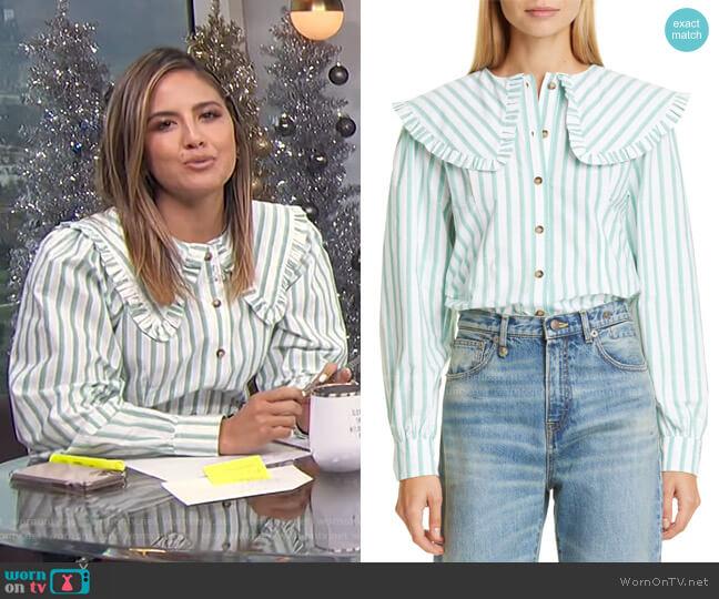 Stripe Ruffle Collar Cotton Poplin Blouse by Ganni worn by Erin Lim  on E! News